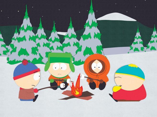 Стэн, Кайл, Кенни и Картмэн в лагере на пруду.