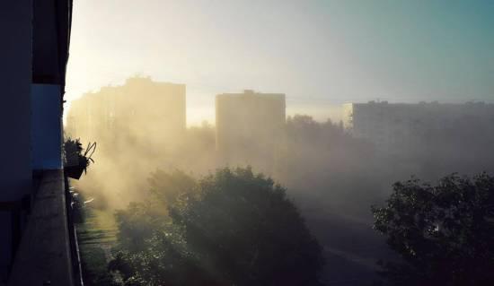 Фотография: туман на городом Рига, Латвия.